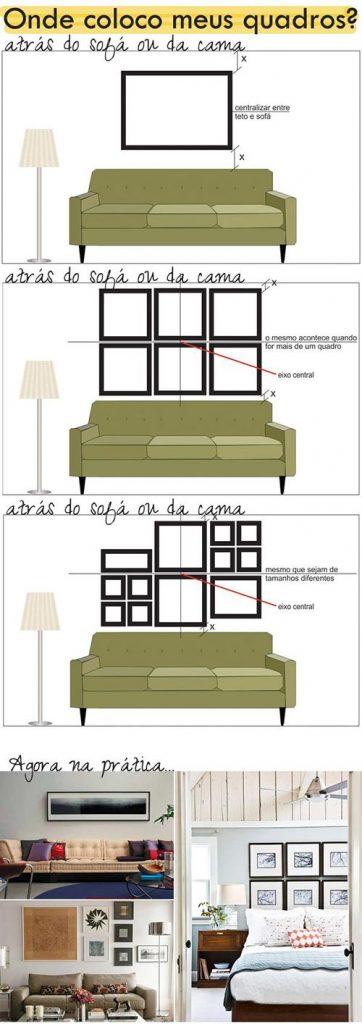 Como colocar quadros para sala