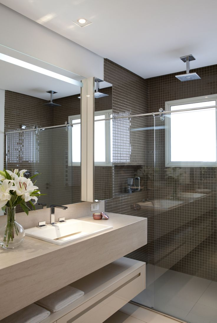 Tamanho De Espelho Banheiro : Banheiros decorados com pastilhas lindas ideias
