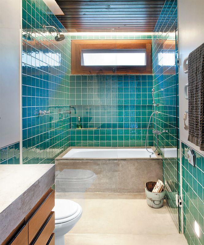 Banheiros decorados com pastilhas  35 lindas ideias -> Banheiro Pequeno De Cimento Queimado