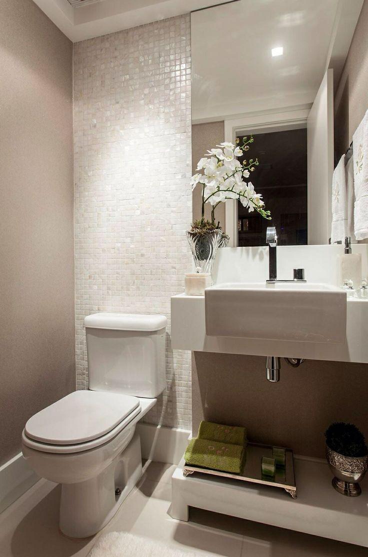 Banheiros decorados com pastilhas  35 lindas ideias -> Decoracao De Banheiro Pequeno Bege