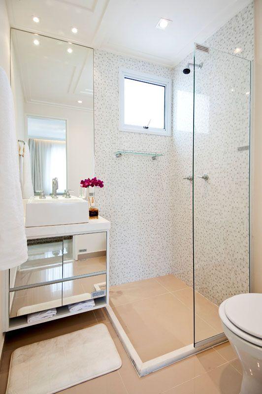 Banheiros decorados com pastilhas  35 lindas ideias -> Banheiro Com Acabamento Em Pastilhas