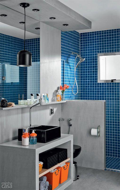 Banheiros decorados com pastilhas  35 lindas idei -> Banheiros Pequenos Com Pastilhas Azuis