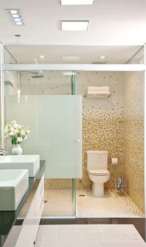 Banheiros decorados com pastilhas  35 lindas ideias -> Banheiro Com Pastilha Box