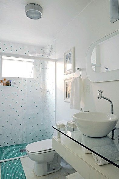 Banheiros decorados com pastilhas  35 lindas ideias -> Banheiros Decorados Simples Pastilhas