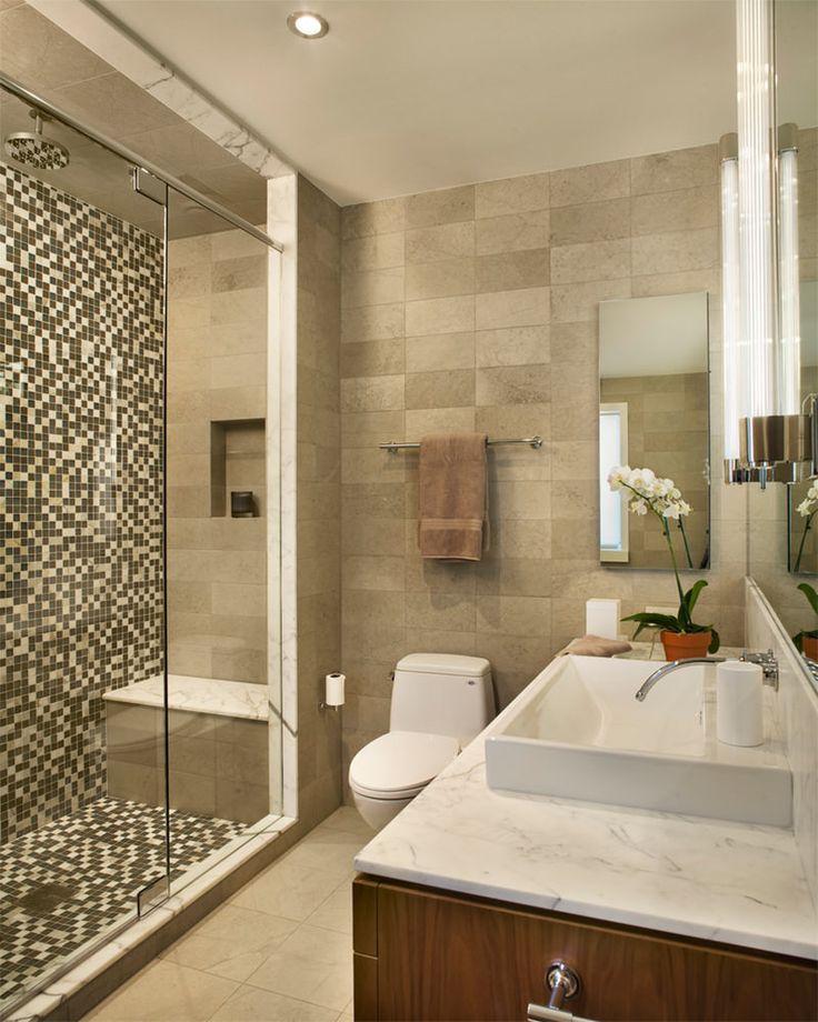 Banheiros decorados com pastilhas  35 lindas ideias -> Banheiros Modernos Decorados Com Pastilhas De Vidro