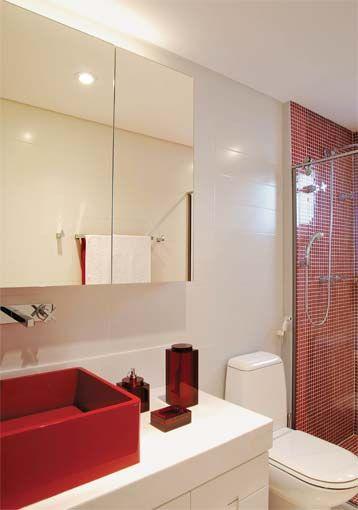 Banheiros decorados com pastilhas  35 lindas ideias -> Banheiro Com Pastilha Vermelha E Branca