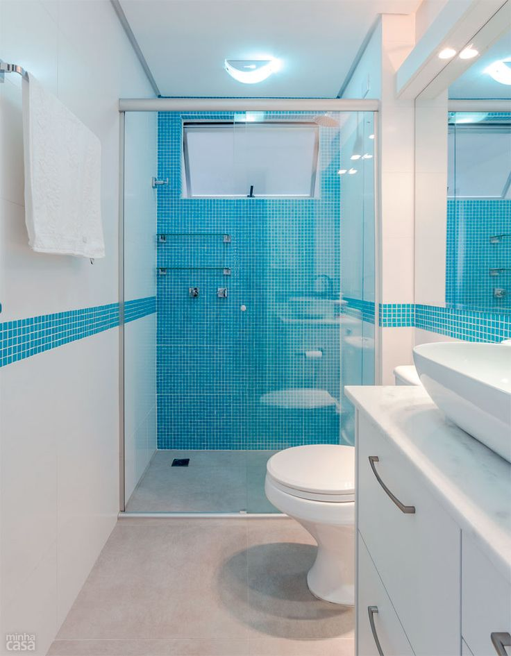 Banheiros decorados com pastilhas  35 lindas ideias -> Banheiro Com Azulejo Imitando Pastilha