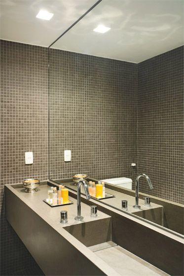 Banheiros decorados com pastilhas  35 lindas ideias -> Banheiro Pequeno Com Pastilhas Cinza
