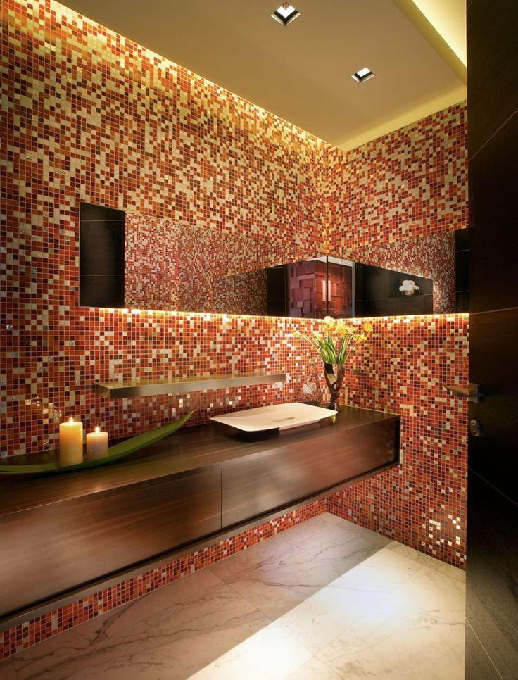 Banheiros decorados com pastilhas  35 lindas ideias # Banheiros Decorados Em Vermelho E Branco