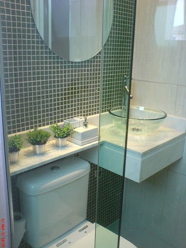 Banheiros decorados com pastilhas  35 lindas ideias -> Banheiro Pequeno Decorado De Vermelho