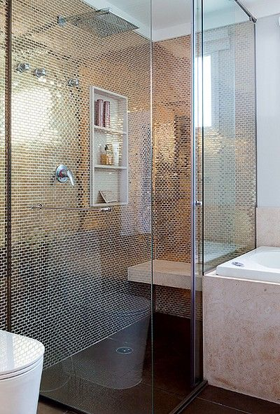 Banheiros decorados com pastilhas  35 lindas ideias -> Banheiros Com Pastilhas Escuras