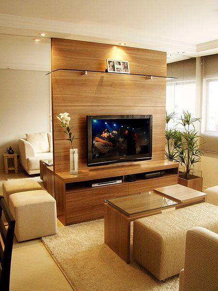 Rack Pra Sala Pequena ~ Decoração de sala pequena com painel de tv