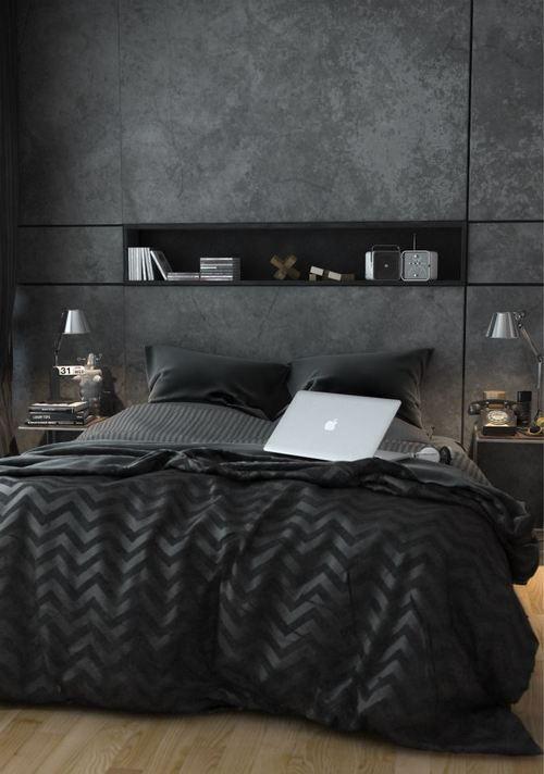 Decoração de quarto de casal pequeno escuro