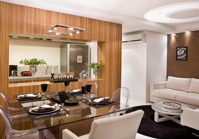 decoracao de apartamentos pequenos cozinha : decoracao de apartamentos pequenos cozinha: apartamento pequeno cozinha americana com prateleira de livros