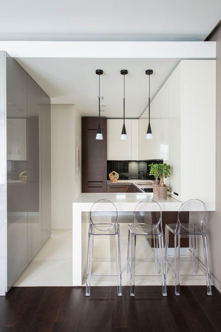 Cozinha Americana Pequena De Apartamento Usar A Mesma Cor No Balco