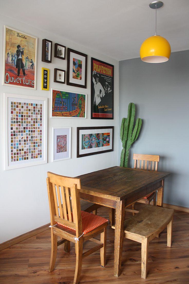 Lindas Ideias De Quadros Para Sala De Jantar Viver Em Casa -> Sala Branca Com Parede Colorida