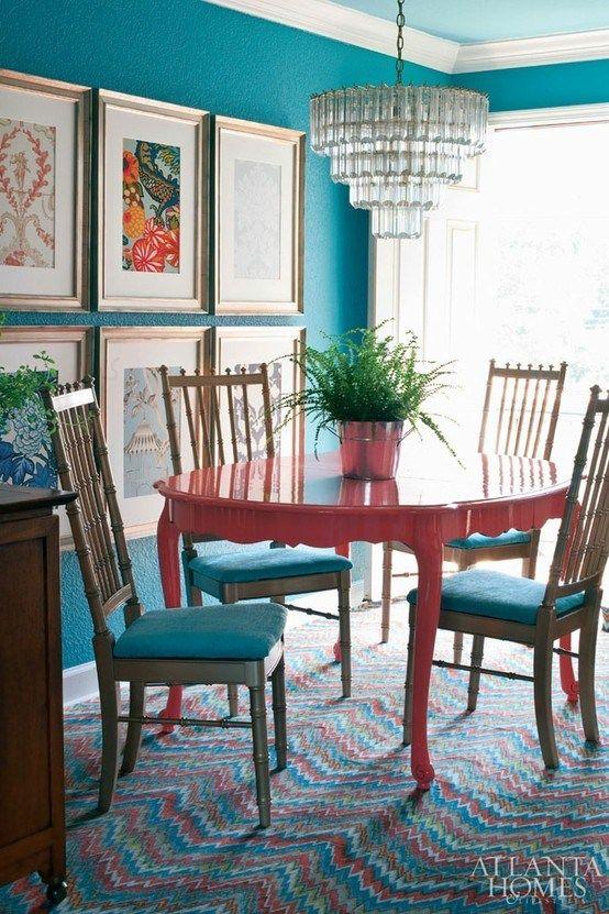 Lindas ideias de quadros para sala de jantar viver em casa - Red dining room color ideas ...