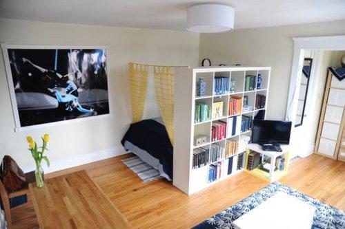 Decoração de apartamentos pequenos com quarto integrado a sala de tv
