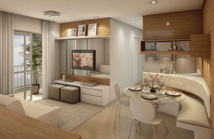 Decoração de apartamentos pequenos sala de estar e jantar integrados