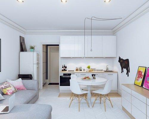 Decoração de apartamentos pequenos - sala de jantar e estar branca