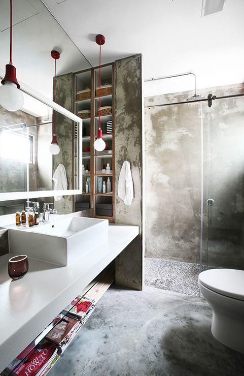 Piso de cimento queimado  50 ideias lindas de decoração -> Banheiro Piso Decorado