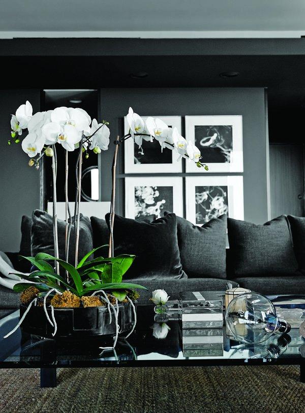 Sala escura decorada