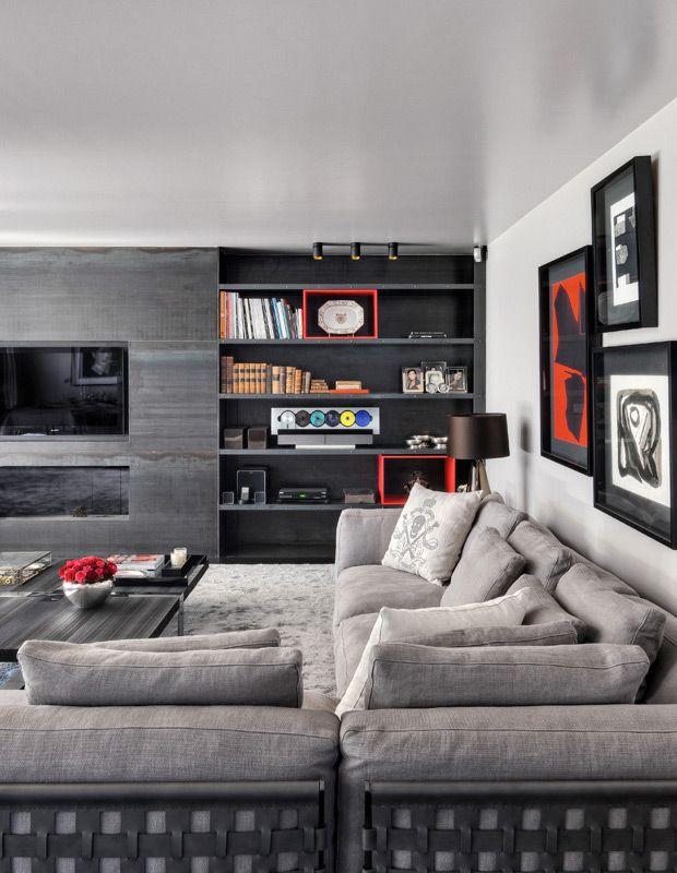 Sofá Grande Para Sala De Tv ~ Decoração com sofá cinza  20 ideias para se inspirar