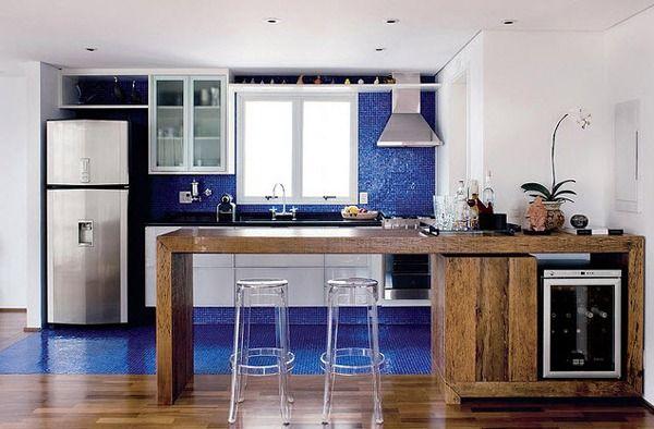 Cozinhas decoradas com pastilhas azul