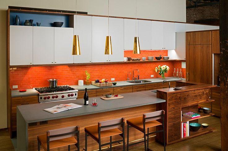 Cozinha decorada com pastilhas que imitam tijolo a vista