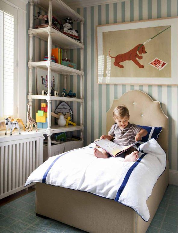Papel de parede listrado para quarto de menino e bebê
