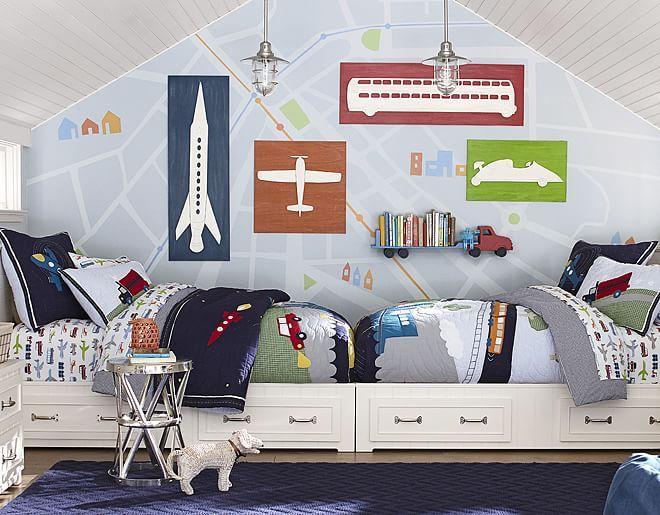 Papel de parede para quarto de menino com caminhão, ônibus, avião, foguete
