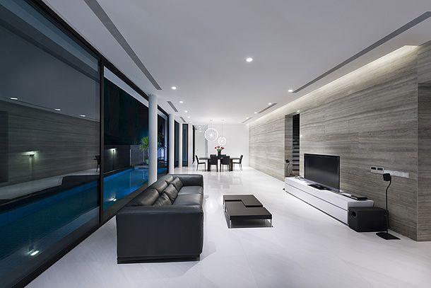 Sala minimalista e moderna com gesso