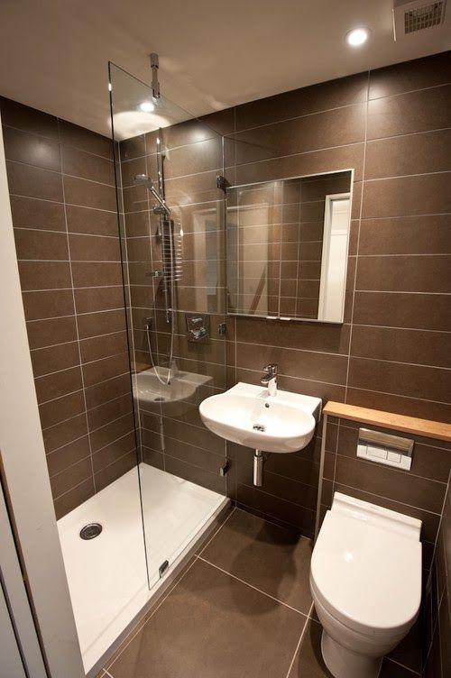 Banheiros pequenos bonitos, modernos e inspiradores -> Banheiro Pequeno Branco E Marrom