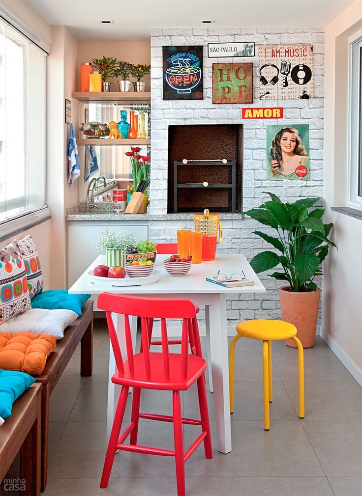 Pretty Bright Small Kitchen Color For Apartment Rea De Lazer Com Churrasqueira 21 Lindas Ideias