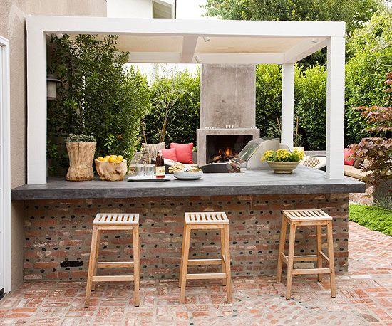 Rea de lazer com churrasqueira 21 lindas ideias for Backyard kitchens on a budget