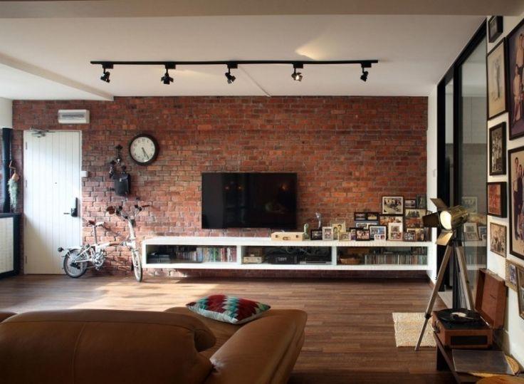 Sala De Estar Moderna Branca ~ Sala moderna com tijolo a vista