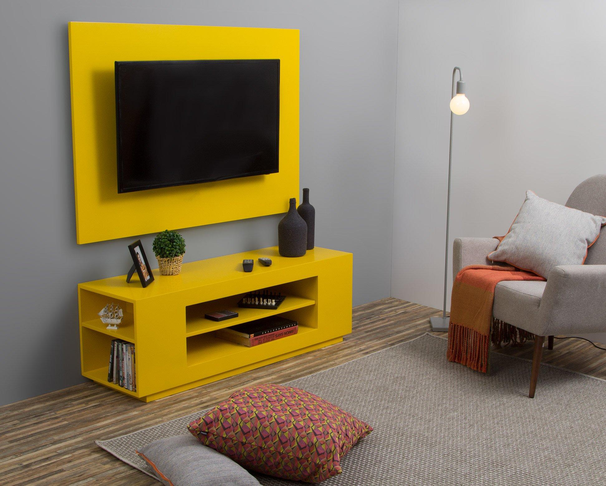 rack com painel para tv amarelo