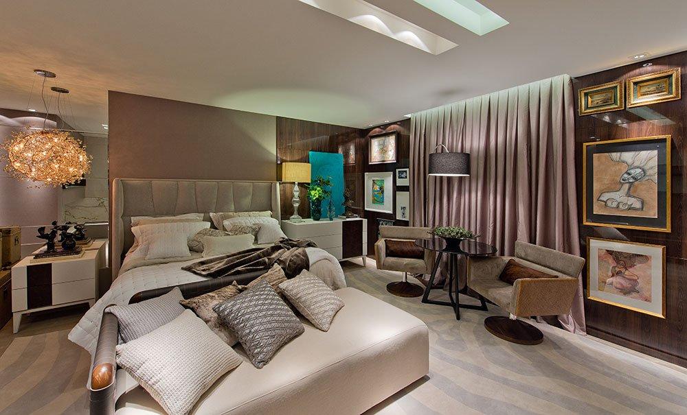 Cortina cinza para quarto de casal de luxo