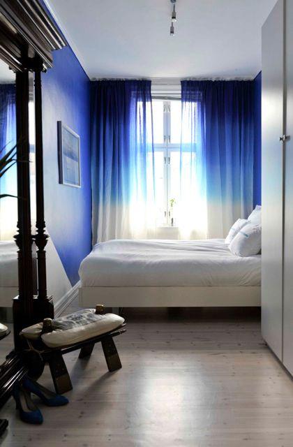 Cortina para quarto azul e branco