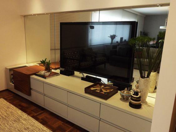 Sala Com Tv No Painel ~ Sala com painel preto e rack branco