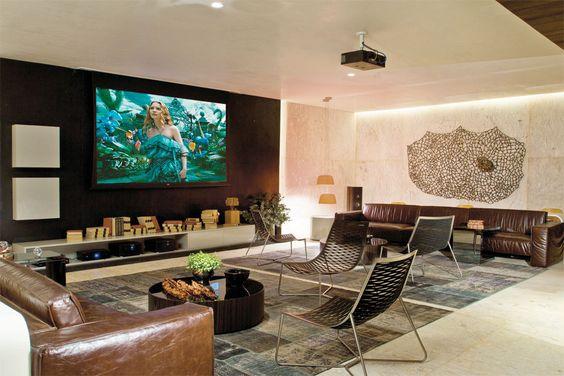Sala Com Tv Em Painel ~ Sala com painel preto e rack branco