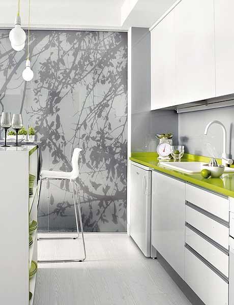 Cozinha branca e verde