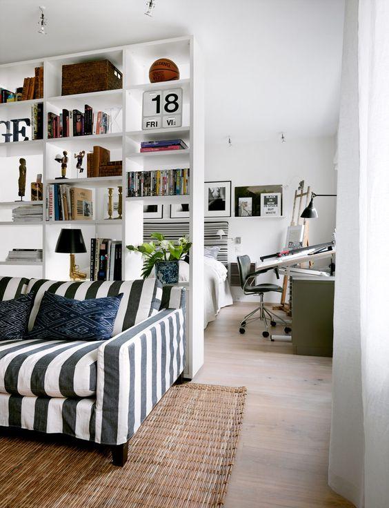 sofá preto e branco - listrado