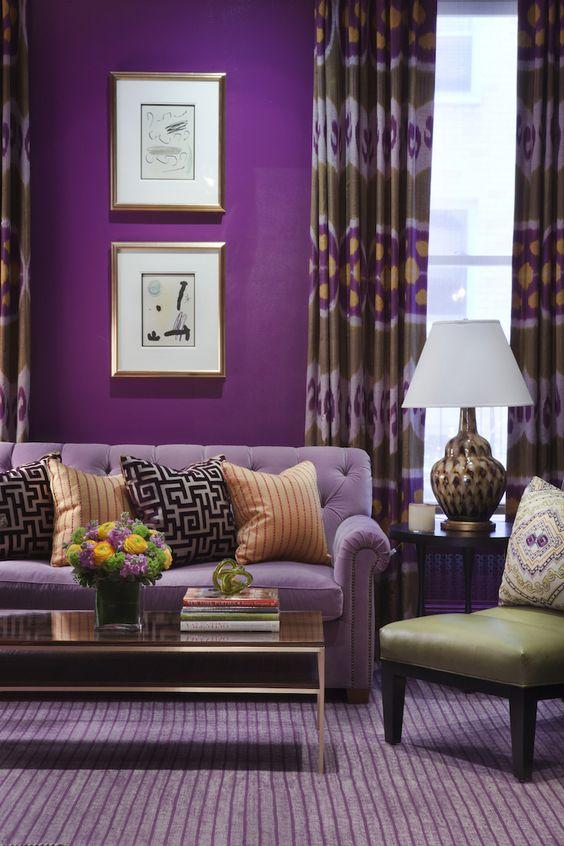 Cores para sala de estar aprenda a deixar sua casa linda Purple brown living room