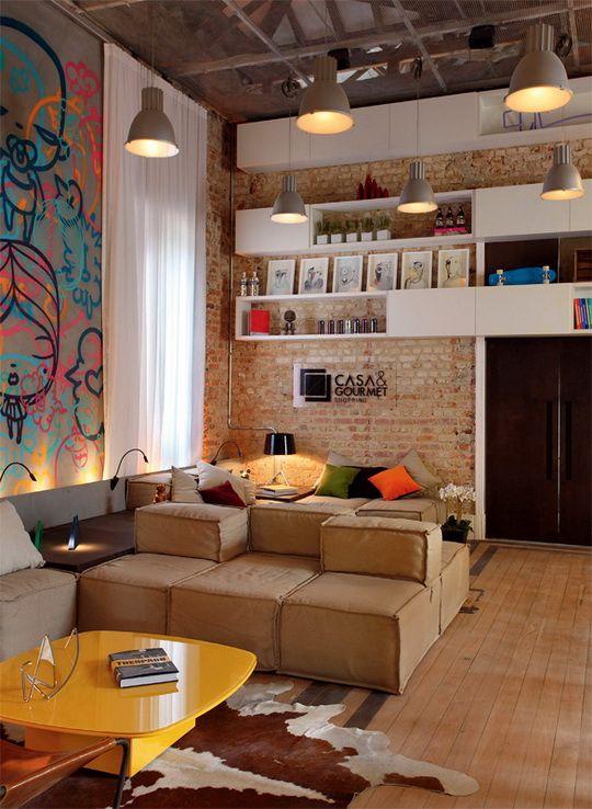 Tapetes para sala 26 ideias para voc decorar a sua for Paredes estilo industrial