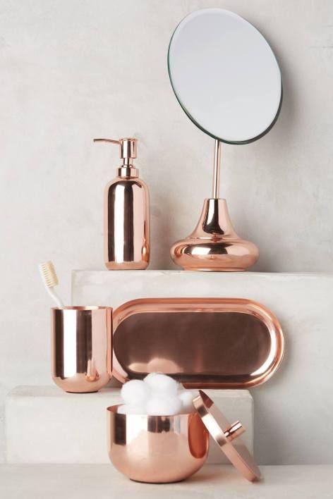 Decoração cobre no banheiro