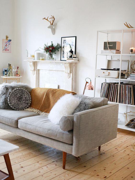 Almofadas para sofá com pelos para o inverno