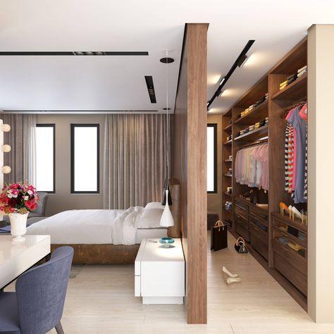 Modelos de Closet atrás da cama de madeira