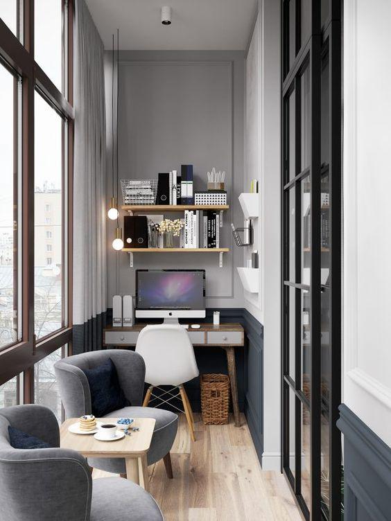 escritório pequeno em casa, simples e moderno